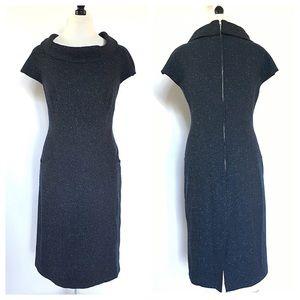LAFAYETTE 148 navy blue wool tweed sheath dress 8P